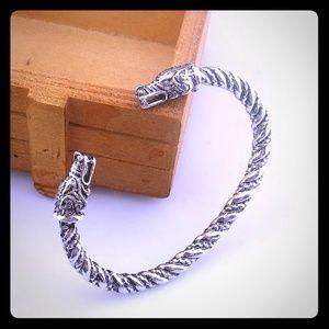 Fenrir Wolves Viking Sacred Arm Ring Iron Bracelet